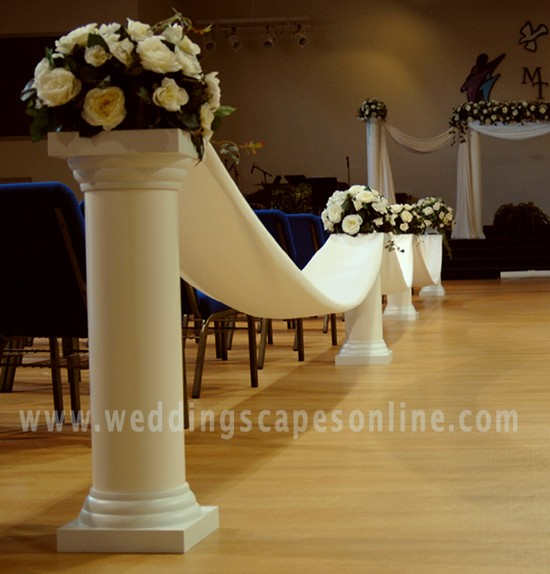 wedding aisle decorations with columns